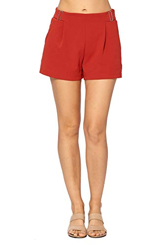 CI SONO Women's Pull On Elastic Waist Fit and Flare Buckle Accessory Pleated Shorts (Large, Burnt Orange)