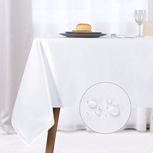 NLMUVW Rectangle Table Cloth, Waterproof Oblong Tablecloth, Microfiber Fabric Table Cover for Party Picnic Outdoor and Indoor Use (60 x 84 Inch, White)