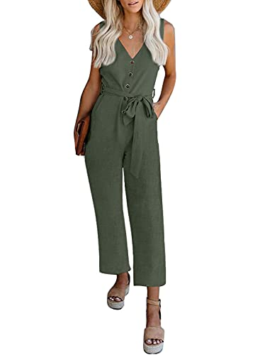 Happy Sailed Womens Casual Solid Sleeveless V Neck Button Down Long Romper Jumpsuits with Pockets,Large Green