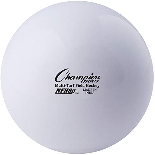 """Champion Sports Field Hockey Balls, Regulation Size, 12-Pack, 2.75"""" Each - NFHS-Approved Sports Hockey Ball Set for Fields, Grass, Turf - Durable, Bouncy, Lightweight, Bright Colored - White"""