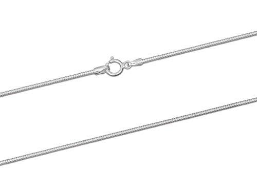 925 Sterling Silver Necklace Chain, 1.2mm Diamond Cut Round Snake Chain, 16'/40cm Length