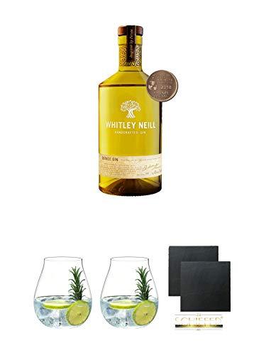 Whitley Neill Gin QUINCE 0,7 Liter + Gin Tonic Glas - 5414/67 + Gin Tonic Glas - 5414/67 + Schiefer Glasuntersetzer eckig ca. 9,5 cm Ø 2 Stück