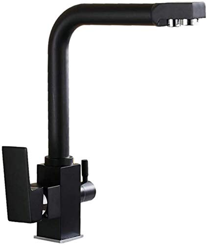 3 vías latón Filtro de agua Tap 360 ° de rotación grifo monomando grifo de cocina doble grifo del lavabo fregadero para sistemas de sistemas de agua de ósmosis potable, negro