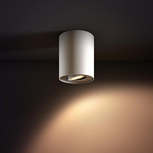 PHILIPS hue Ambiance LED Aufbaustrahler dimmbar | runde Deckenleuchte Spot weiss | inkl. GU10 LED 5,5W 350 Lumen | warmweiß kaltweiß 2200-6500K 4er Set mit Dimmschalter - 4