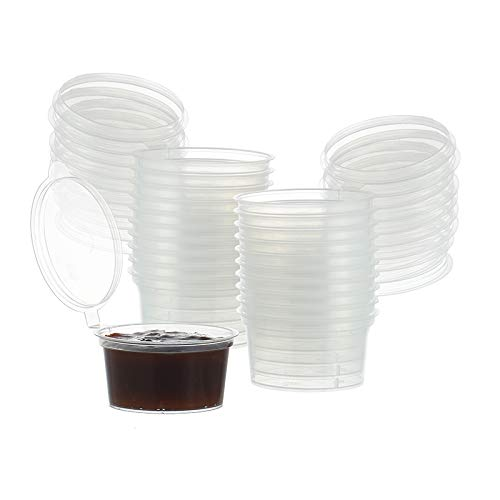30ml Plastic Sauce Cups - Souffle Cups, Jello Shot Cups, Portion Cups with Lids, Set of 100 (30ml)