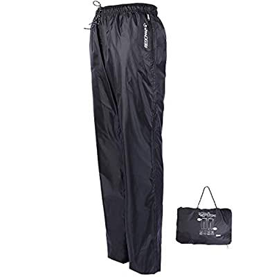 REDCAMP Unisex Rain Pants Waterproof Lightweight with Side Zipper, PU5000mm Great for Hiking Outdoor, Black M