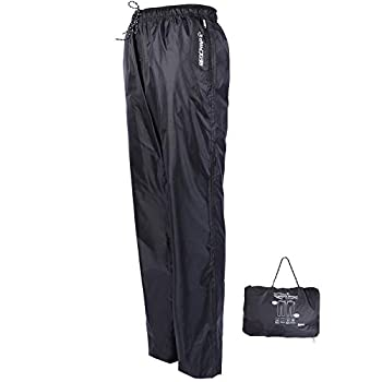 REDCAMP Unisex Rain Pants Waterproof Lightweight with Side Zipper PU5000mm Great for Hiking Outdoor Black M