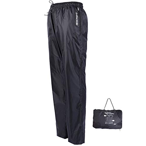 REDCAMP Unisex Rain Pants Waterproof Lightweight with Side Zipper, M/L/XL/XXL PU5000mm Great for Hiking Outdoor, Black