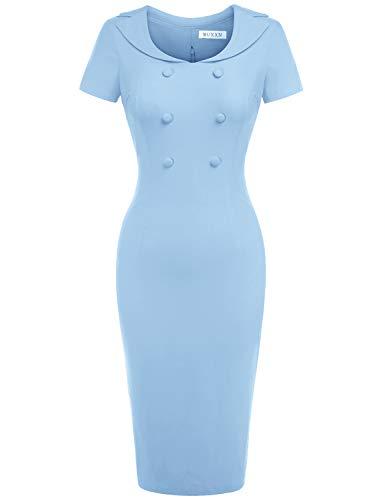 MUXXN Womens Cute Casual Button Up Desgin Bridesmaid Prom Light Blue Dress (Airy Blue M)