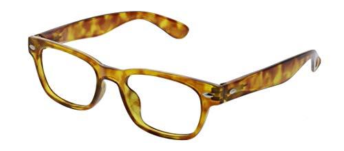 Peepers by PeeperSpecs Clark Square Reading Glasses, Honey Tortoise - Focus Blue Light Filtering Lenses, 49 mm + 1.25