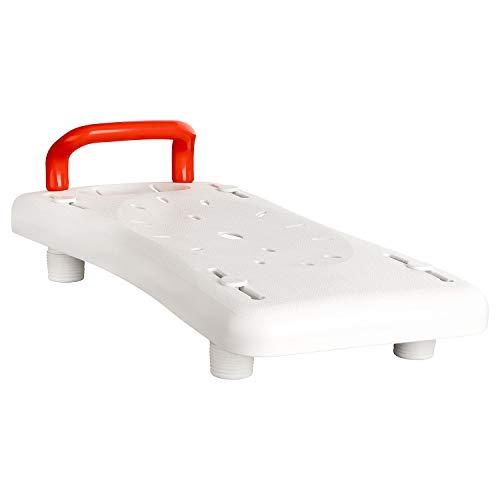 flexilife Badewannenbrett für Senioren mit Griff und integrierter Seifenablage, weiß - Badewannensitz für Erwachsene Wannensitz Sitzbrett