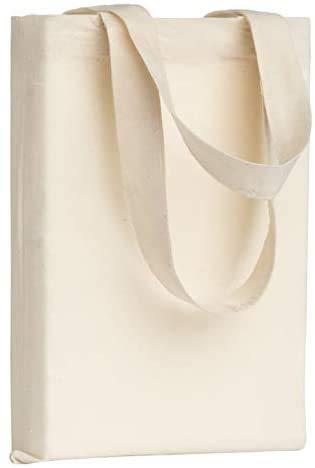 POLHIM® 22 x 26 cm Baumwolltasche klein, Natur, Apothekertasche, Beutel, Geschenktasche Stofftasche unbedruckt, zum bemalen und bedrucken Jutebeute 10 Stück