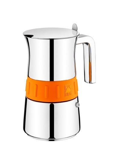 BRA Elegance Kaffeemaschine, Edelstahl 18/10, Grau/Orange, 10 tasses