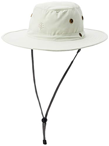 Coolibar UPF 50+ Men's Leo Shapeable Wide Brim Hat - Sun Protective (Small/Medium- Stone/Navy)