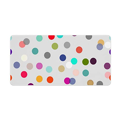 Extended Gaming Mouse Pad with Stitched Edges Waterproof Large Keyboard Mat Non-Slip Rubber Base Colorful Confetti Print All Occasion Desk Pad for Gamer Office Home 12x24 Inch