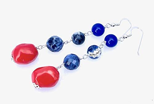 Pendientes de plata 925 coral naranja jade y sodalita azul, pendientes colgantes largos, joyas elegantes, joyas modernas, regalo para ella