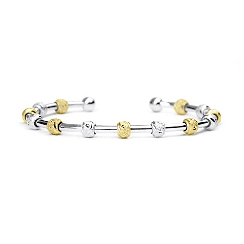 Count Me Healthy Wellness Journal Bracelet - Two Tone Silver and Gold with Silver Cuff