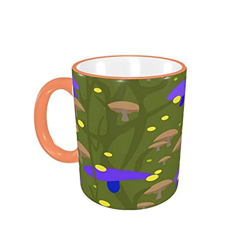 Taza de café Mushroom Meadow Tazas de café de Acuarela Tazas de cerámica con Asas para Bebidas Calientes - Cappuccino, Latte, Tea, Cereal, Coffee Gifts 12 oz Pink