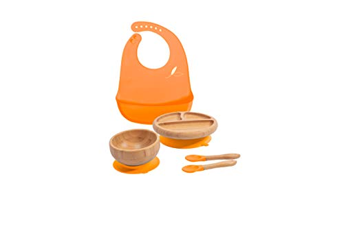 Love Earth ® Bamboo Baby Plate Weaning Set, Suction Plate and Bowl, Two Spoons and Matching Bib Dining Set Eco Friendly Non Slip Plates for Babies and Toddlers, Bamboo Plates Baby led weaning