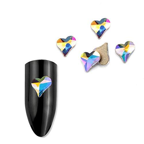 Manucure Strass Plat Mince Teardrop Rectangulaire Verre Flamme Glitter crystal3D Nail Décoration avec Pierres Colorées, 24,20Pcs