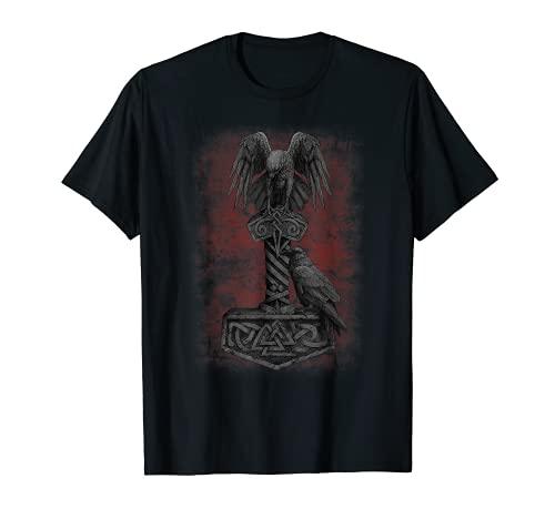 Viking Norse Mythology Thor's Mjolnir Odin's Huginn & Muninn T-Shirt