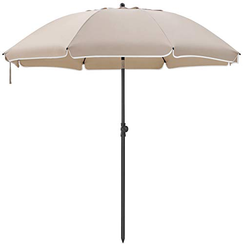 SONGMICS Sonnenschirm, 200 cm, Sonnenschutz, Gartenschirm, achteckiger Strandschirm aus Polyester, Schirmrippen aus Glasfaser, knickbar, für Garten, Balkon, Taupe GPU001K01