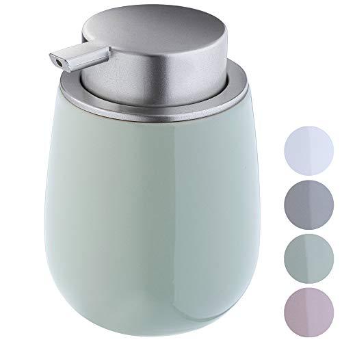 KADAX Seifenspender aus Keramik, Spender mit Pumpe aus Kunststoff, Lotions-Pender für Bad, Küche, 12,5 x 9,5 cm, Flüssigseifen-Spender, Spülmittel-Spender, glänzend, rund (pfefferminz)