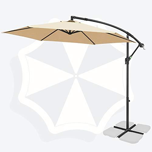 FRUITEAM 10FT Offset Hanging Patio Umbrella, Outdoor Market Cantilever Umbrella w/Easy Tilt Adjustment, with Crank & Cross Bar, Shade 95% UV Protection for Backyard, Poolside, Lawn and Garden