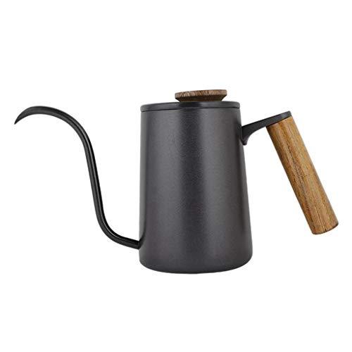 Amuzocity Hervidor de Café con Largo, Cafetera de Cuello de Cisne, Acero Inoxidable - Negro 350ml, Individual