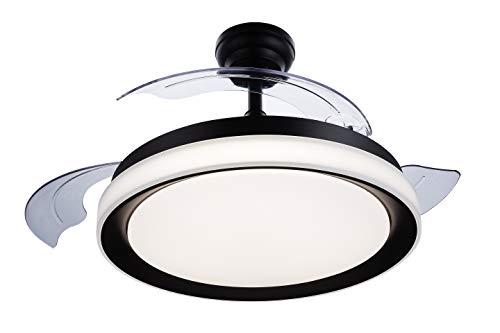 Philips Lighting Bliss - Ventilador de techo con luz LED y mando, 80W, luz blanca de cálida a fría (3000-5500K), color negro