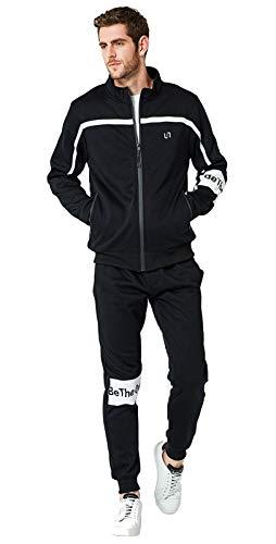 2 Piezas De Chándal con Cremallera Completa para Hombres Top para Deportes Al Aire Libre Suéter De La Sudadera con Capucha Black-M