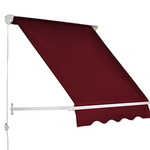 Outsunny 6' Drop Arm Manual Retractable Window Awning Sun Shade Shelter for Patio Balcony Outdoor, Aluminum, Wine Red
