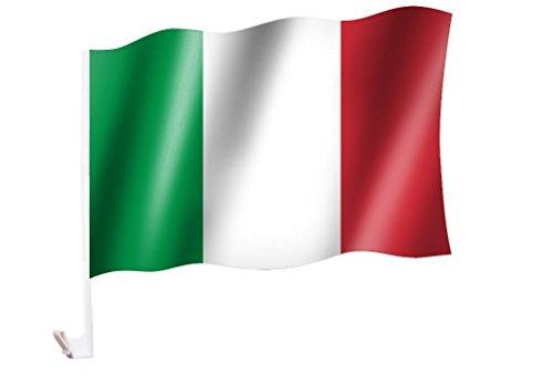 Sportfanshop24 2 Stück/1 Paar Autoflagge/Autofahne Italien/Italia/Italy - Fahne/Flagge für Auto 2X - car Flag