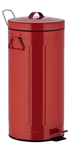 Kitchen Move 927250E RED AS Rétro Style Industriel Poubelle à Pédale Métal/ABS/Plastique Rouge 30 x 30 x 68,5 cm