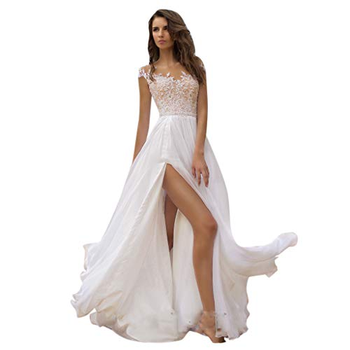 Best Buy! TUU Women's Sexy Summer Solid Sleeveless V-Neck Dress Lace Dress Wedding Dress White