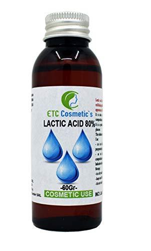 Acido Lattico 80% – 60/120 Gr – controllo del pH, cura della pelle, del corpo e dei capelli, trattamento peeling, ringiovanimento e schiarimento, cheratolitico, esfolia la pelle (60 Gr)