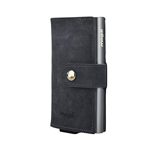 mogdi Mini Black Premium Herren Portmonee RFID Schutz Kartenetui Business Geldbörse feinstes A++ Echtleder Wallet Geldbeutel (anthrazit)