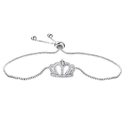 SAKAIPA Adjustable Cubic Zirconia Cut Slider Tennis Gold Plated Butterfly Bracelet Women Jewelry (Siver crown bracelet)