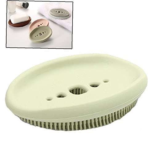 Ruluti 1pc Multifuncional Soap Box Holder Y Cepillo Dos En -Caja De Jabón Portátil Adecuado para Viajes De Baño