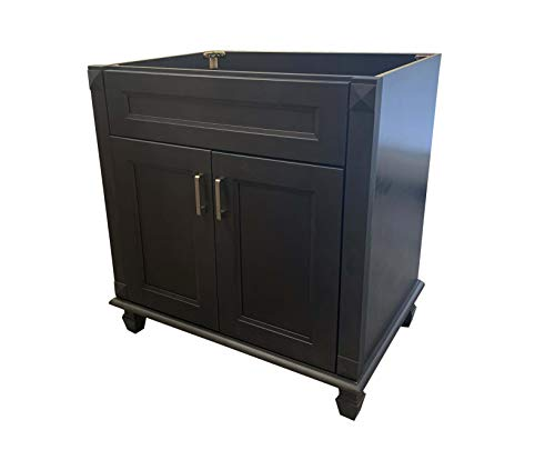 36' Wide x 21' Deep New Carbon Metallic Black Single-Sink Bathroom Vanity Base Cabinet NCM-V3621