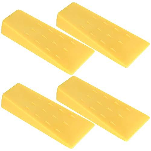 Abuff Fällkeile mit Stacheln, 4 Stück, 14 cm, gelber Kunststoff, Fällkeil für Kettensäge, Baumschneiden