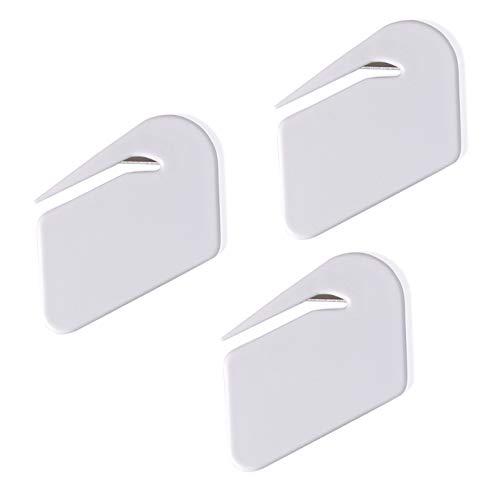 Letter Opener Envelope Slitter,Plastic Razor Blade Paper Knife,3 Pack(White)