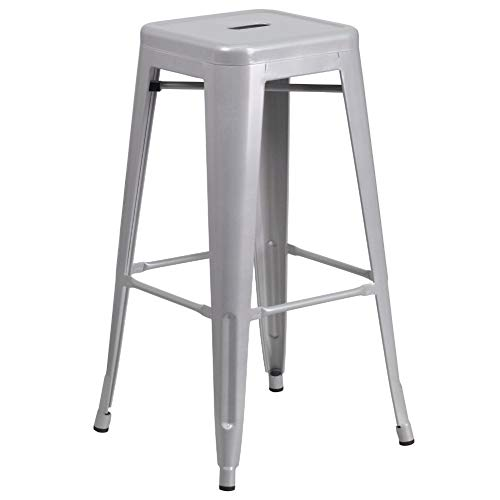 Flash Furniture Commercial Grade 30' High Backless Silver Metal Indoor-Outdoor BarStool with Square Seat