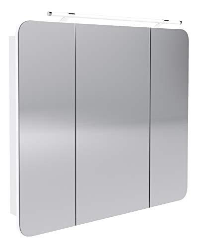 FACKELMANN LED Spiegelschrank Milano/Badschrank mit 3D Effekt/Soft-Close/Maße (B x H x T): ca. 90 x 78 x 15,5 cm/Schrank mit Spiegel & LED-Beleuchtung fürs Badezimmer / 3 Türen/Korpus: Weiß
