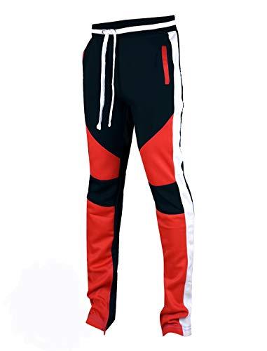 SCREENSHOTBRAND-P41901 Mens Activewear Premium Slim Fit Track Pants - Athletic Jogger Color Block Cut & Sew Sportswear Bottoms-Black-Small
