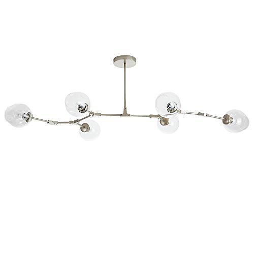 LeMeiZhiJia Modern Kronleuchter E27 - Pendelleuchte Deckenlampe Drehbar Beleuchtung Esszimmer Wohnzimmer - Glaskugel Verzweigung Bubble 6 Flammig