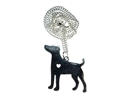 Miniblings Hund mit Herz Kette Halskette 45cm Labrador Hundekette Tier Silber