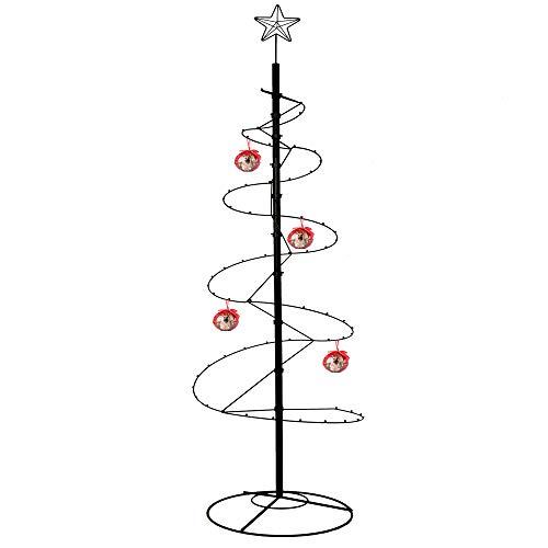 HOHIYA Wrought Iron Christmas Tree Spiral Ornament Display Stand 84 inch Black