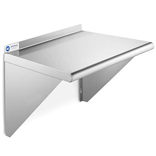 GRIDMANN NSF Stainless Steel 18' x 24' Kitchen Wall Mount Shelf Commercial Restaurant Bar w/ Backsplash