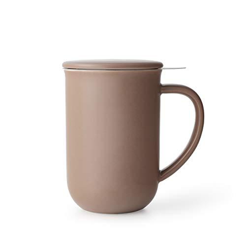 VIVA scandinavia Porzellan Tee-Tasse mit Teesieb für losen Tee und Deckel, Kaffee-Becher mit Henkel, 0,55 Liter, Braun